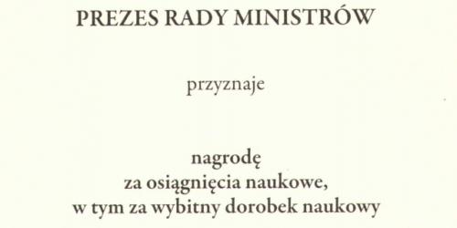 Prof. Roman Kaliszan wyróżniony