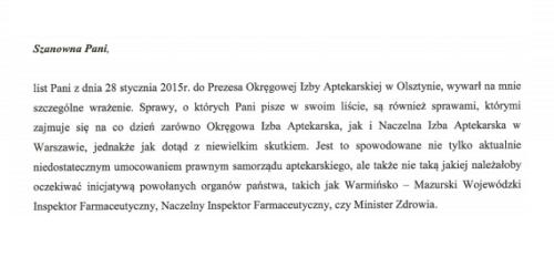 OIA Olsztyn odpowiada na list farmaceutki z Lidzbarka Warmińskiego