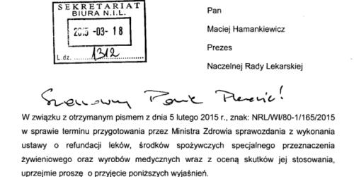 Radziewicz-Winnicki ws. zwłoki w przedstawieniu sprawozdania z wykonania ustawy o refundacji leków