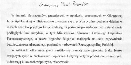 OIA Białystok apeluje do Ewy Kopacz