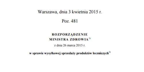 Rozporządzenie MZ w sprawie wysyłkowej sprzedaży leków