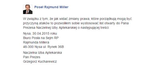 """Rajmund Miller: tezy Kucharewicza są """"absolutnie nieprawdziwe i obraźliwe"""""""