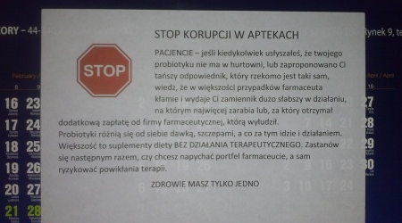 """OIA Katowice interweniuje w sprawie ulotki """"Stop korupcji w aptekach"""""""