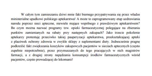 Konsultant wojewódzki w dziedzinie farmacji aptecznej w Wielkopolsce apeluje do Ministra Zdrowia