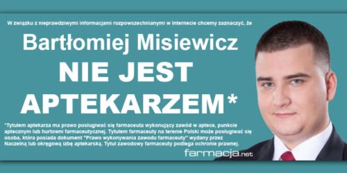 Misiewicz nie jest aptekarzem – środowisko farmaceutów reaguje