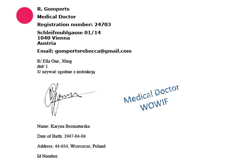 Recepta transgeniczna na ellaOne do wydrukowania przez pacjentkę - nie powinna być zrealizowana w polskiej aptece.