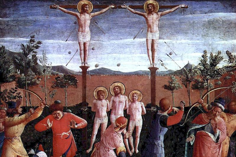 """""""Męczeństwo świętych Kosmy i Damiana"""" - Fra Angelico. (fot. Wikimedia Commons)"""