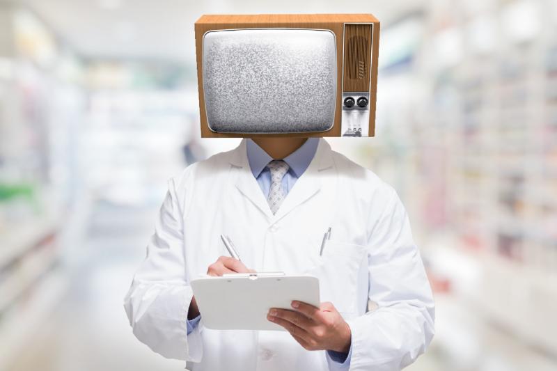 Farmaceuta z telewizorem zamiast głowy.