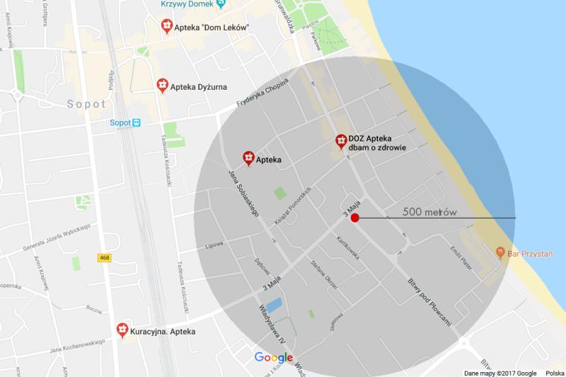 W promieniu 500 metrów od lokalu proponowanego przez miasto, są już dwie apteki. To duży problem. (fot. Mapy Google)