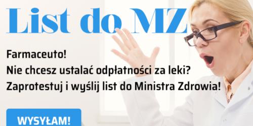 Farmaceuto! Nie chcesz ustalać odpłatności za leki? Zaprotestuj i wyślij list do Ministra Zdrowia!