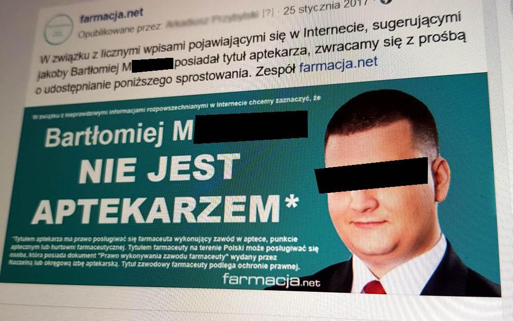 """Fakt iż Bartłomiej M. kiedyś pracował w aptece, nie pozwala na posługiwanie się w stosunku do niego tytułem """"aptekarza"""" (fot. Facebook)"""