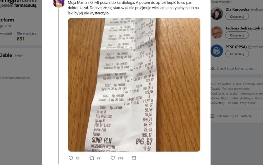 Argumenty farmaceutów nie trafiały do Dominiki Długosz, która opublikowała zdjęcie paragonu z apteki (fot. Screen Twitter)
