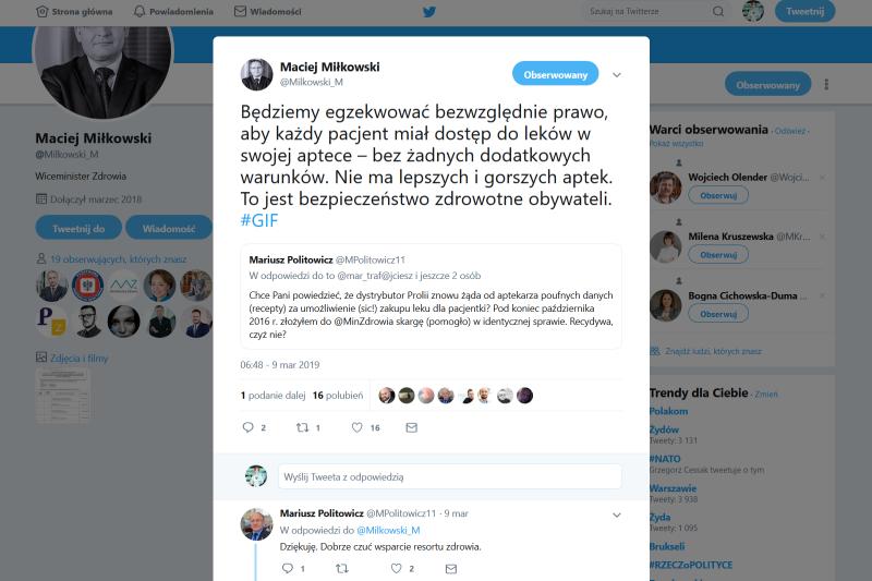 Problem z zaopatrzeniem apteki w takie leki jak Prolia został dostrzeżony przez Ministerstwo Zdrowia. Czy aptekarze doczekają się reakcji? (fot. screen Twitter)