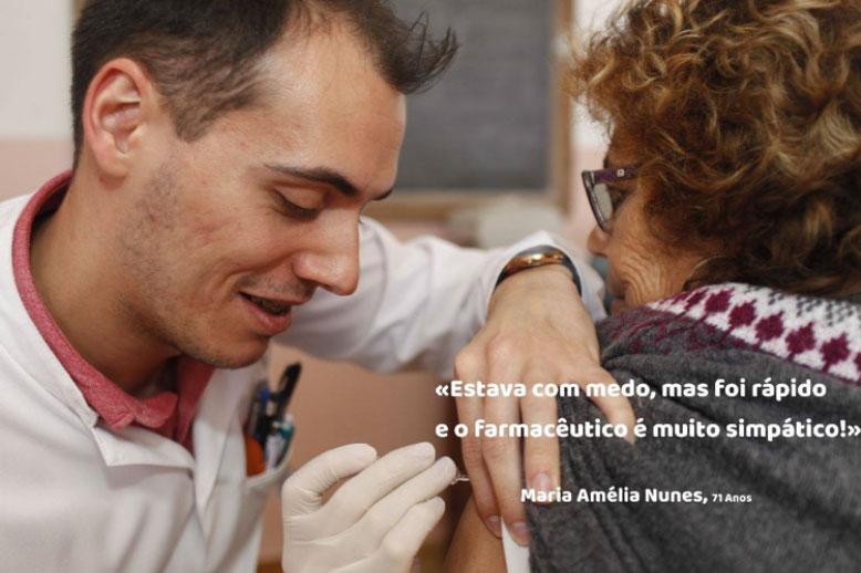 Plakat promujące szczepienia przeciwko grypie w portugalskich aptekach (fot. vaccinestoday.eu)