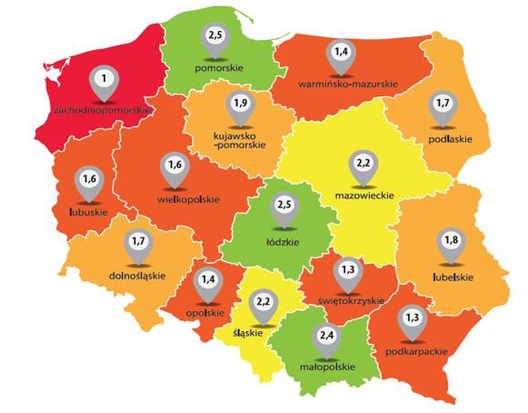 Liczba farmaceutów przypadających na jedną aptekę w Polsce (©MGR.FARM)