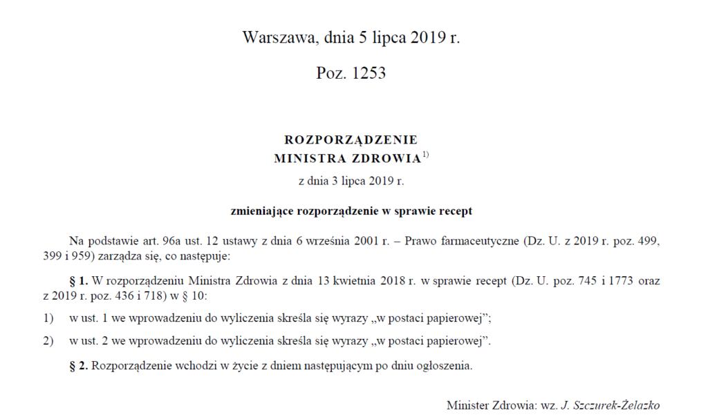 Rozporządzenie Ministra Zdrowia z dnia 3 lipca 2019 r. zmieniające rozporządzenie w sprawie recept