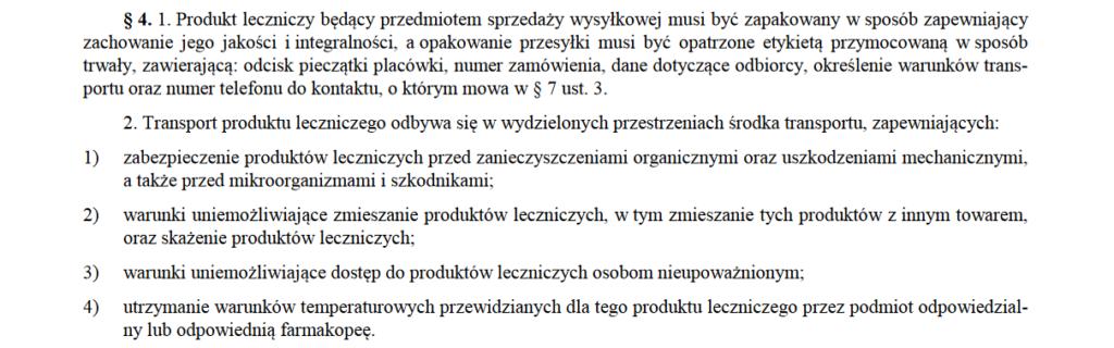 Rozporządzenie Ministra Zdrowia z dnia 26 marca 2015 r. w sprawie wysyłkowej sprzedaży produktów leczniczych.