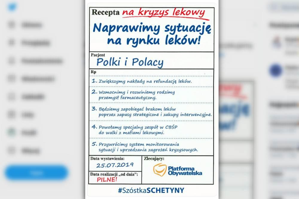 """Wczoraj politycy Platformy Obywatelskiej zaprezentowali swoją """"receptę na kryzys lekowy"""" (fot. Twitter)"""