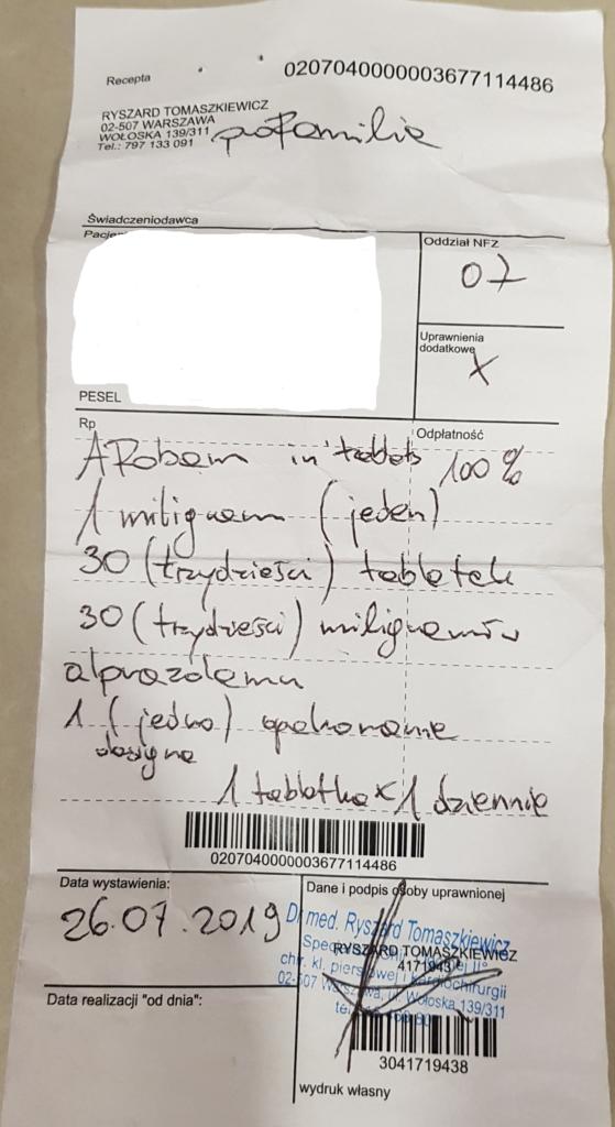 Fałszywa recepta na Afobam (Źródło: bip.wif.waw.pl)
