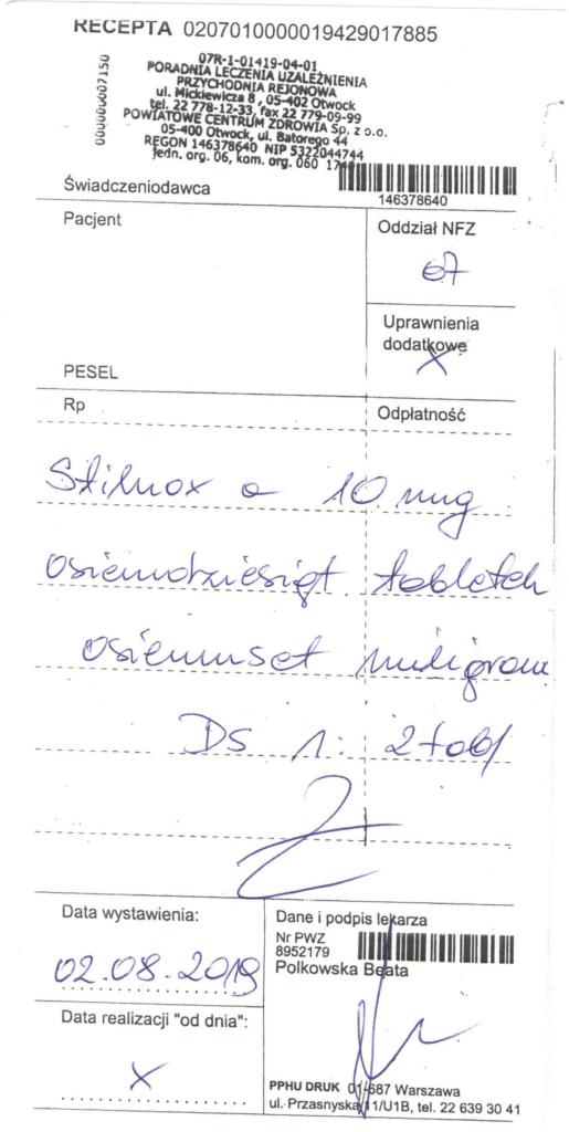 Fałszywa recepta na Stilnox (Źródło: bip.wif.waw.pl)