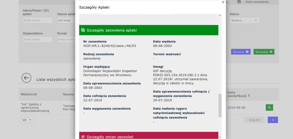 Aktualny status apteki w Rejestrze Aptek