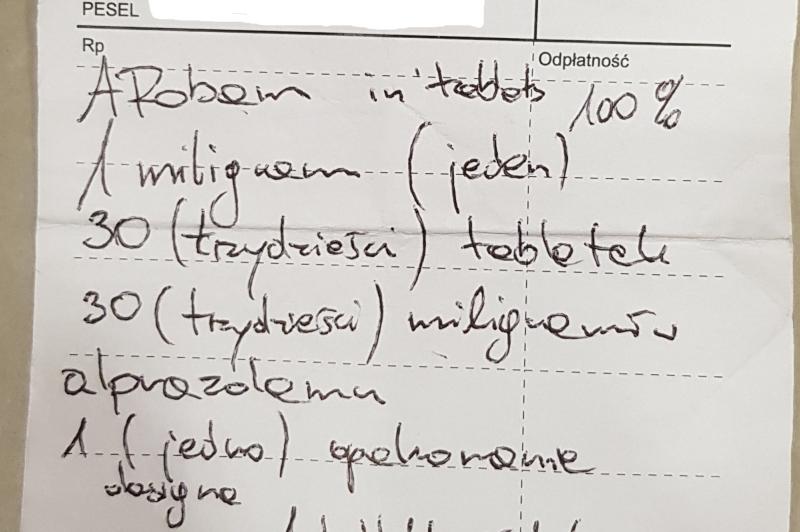 Wojewódzki Inspektorat Farmaceutyczny w Warszawie udostępnia zdjęcia fałszywych recept (fot. bip.wif.waw.pl)