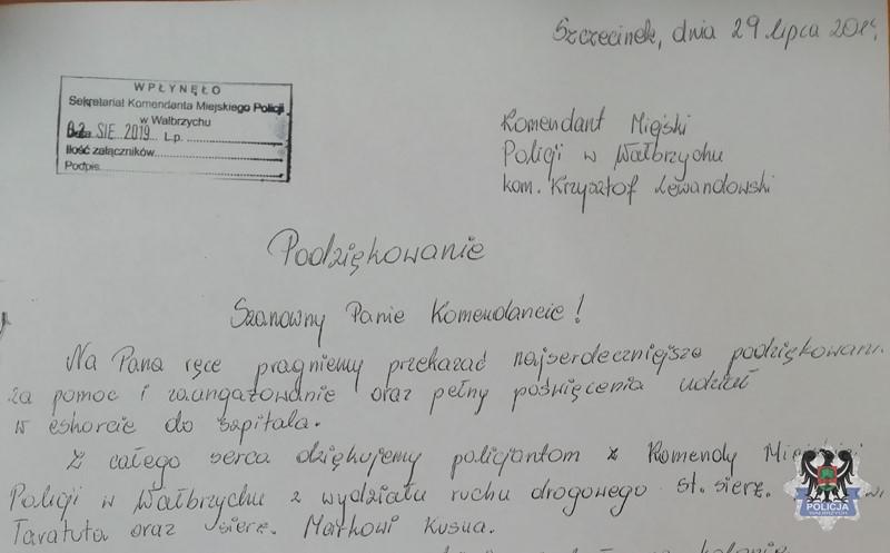 Mieszkanki województwa zachodniopomorskiego wdzięczne są za efektywność, błyskawicznie przeprowadzoną akcję Policjantów z Wałbrzycha (fot. walbrzych.policja.gov.pl)