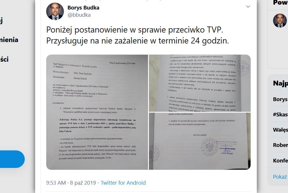 Wyrok nie jest prawomocny. TVP ma 24 godziny na odwołanie się od niego (fot. Twitter)