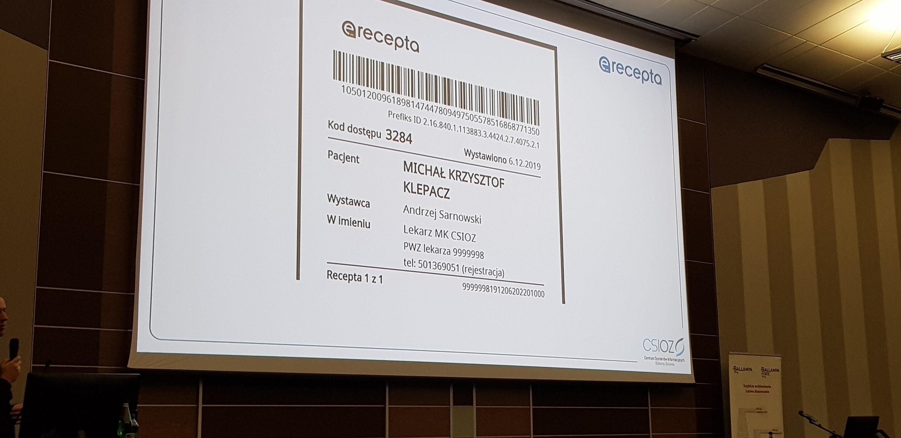 E-recepta wystawiona przez asystenta medycznego (fot. MGR.FARM)