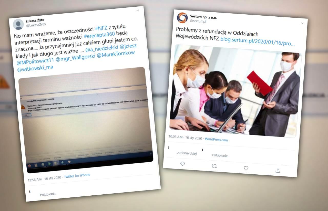 Błąd w komunikacie zwrotnym z NFZ skutkuje odrzucaniem refundacji (fot. Twitter)