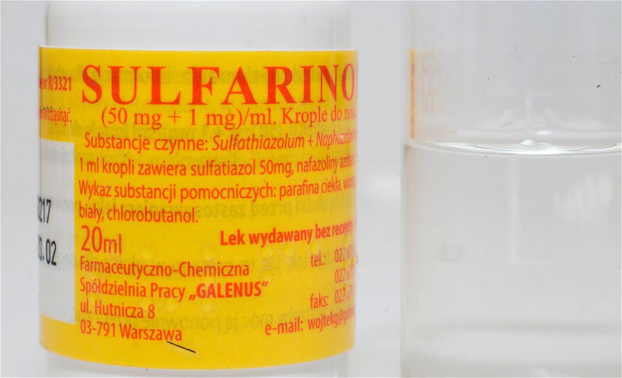 Główny Inspektor Farmaceutyczny wydał decyzję, w której stwierdza wycofanie z obrotu na terenie całego kraju czterech serii kropli do nosa Sulfarinol(fot. receptura.pl).