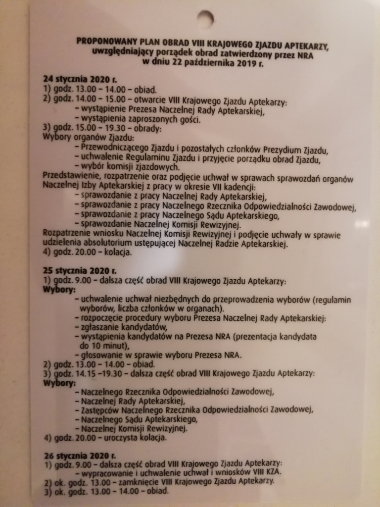 Plan obrad VIII Krajowego Zjazdu Aptekarzy (fot. Mariusz Politowicz)