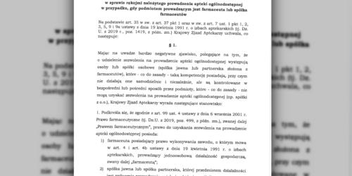 """Izba publikuje uchwałę """"antysłupową"""" Krajowego Zjazdu Aptekarzy"""