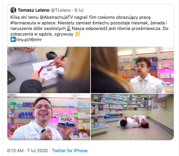 Youtuber w ostrych słowach zwraca uwagę, że odczytywanie tego materiału jako obrazującego pracę farmaceuty w aptece jest absurdalne (fot. TT).