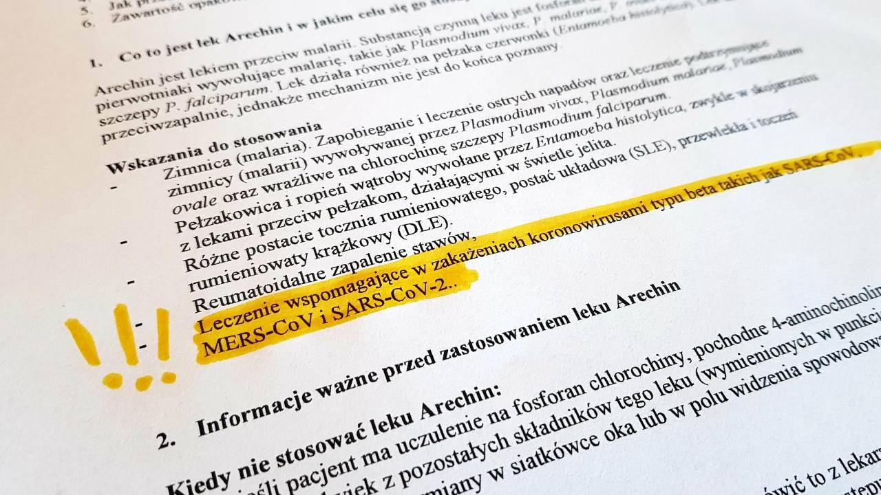 URPL udostępnił na swojej stronie zaktualizowaną dokumentację leku Arechin (fot. MGR.FARM)