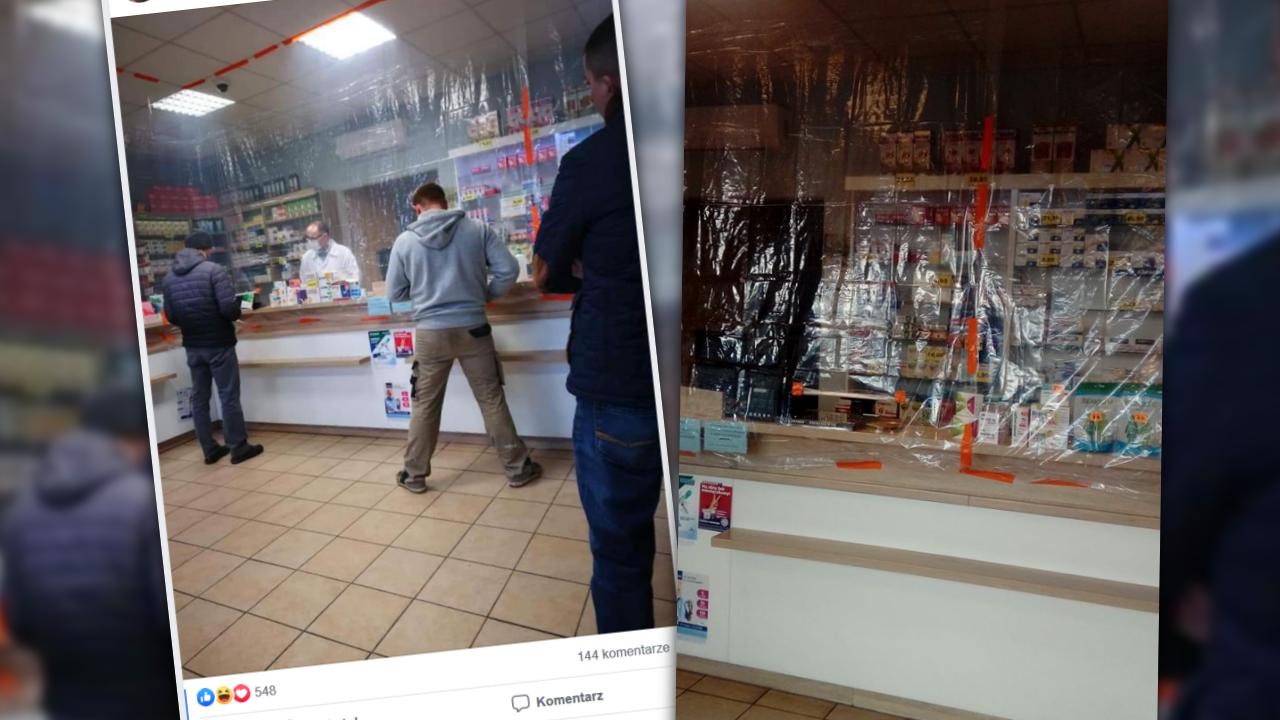 Część pracowników aptek deklaruje, że domaga się od swoich pracodawców instalacji szyb (fot. Facebook/Farmaceutyczny suchar na dzisiaj)