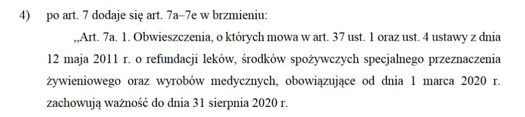 """Fragment projektu nowelizacji """"specustawy koronawirusowej"""""""