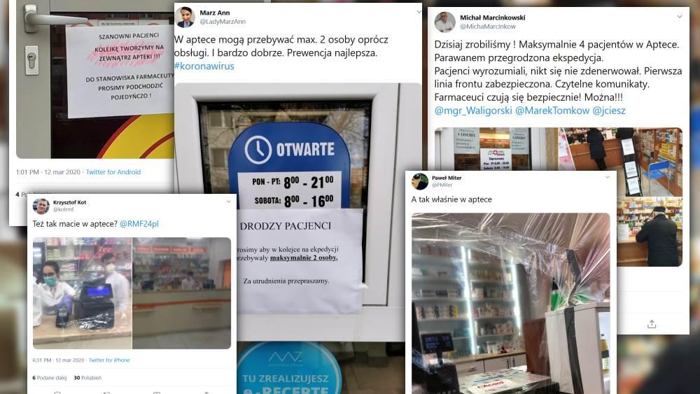 Farmaceuci i pacjenci dzielą się w mediach zdjęciami pokazującymi jak apteki zabezpieczają się przed koronawirusem (fot. Twitter)