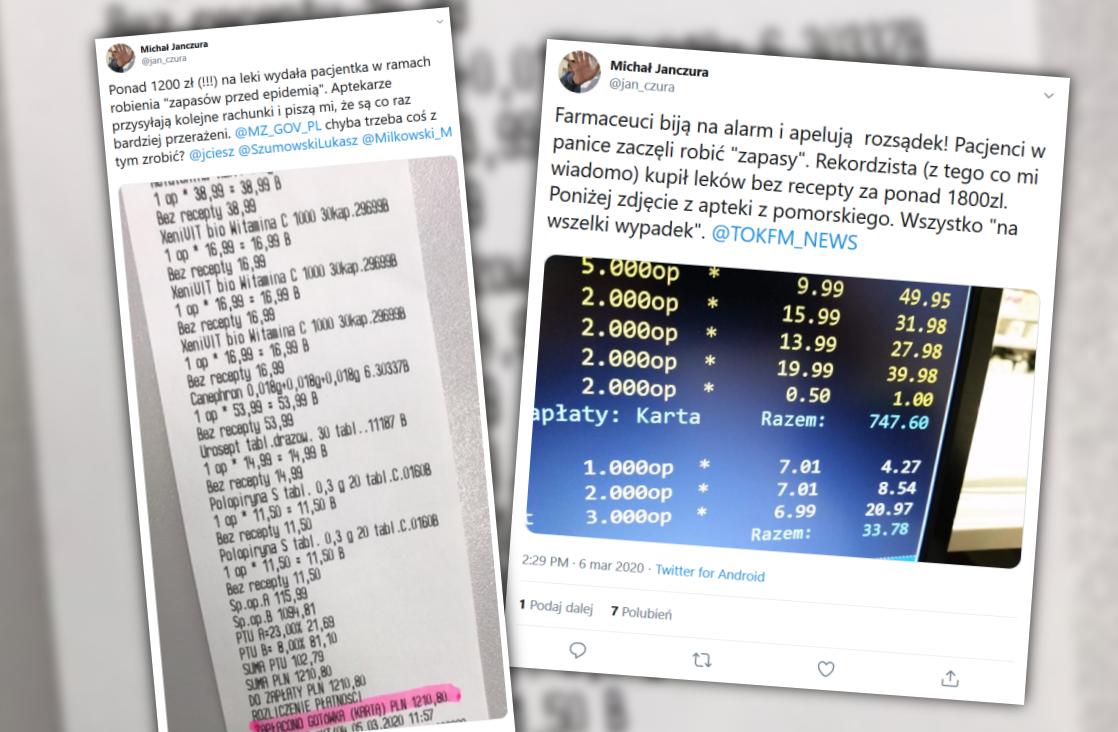"""Aptekarze przesyłają zdjęcia paragonów, pokazujących, jakie kwoty ludzie wydają kupujące leki """"na zapas"""" (fot. Twitter)"""