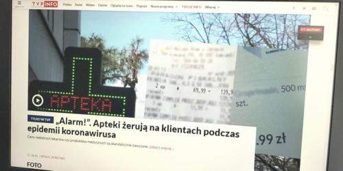 Apteki perfidnie żerują na koronawirusie? Farmaceuci oburzeni materiałem TVP Info…