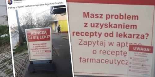 Recepta farmaceutyczna jako reklama apteki? Zdjęcie z Gdańska…