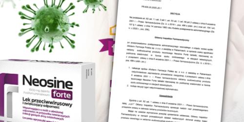 GIF wstrzymuje reklamę Neosine Forte za nawiązania do koronawirusa