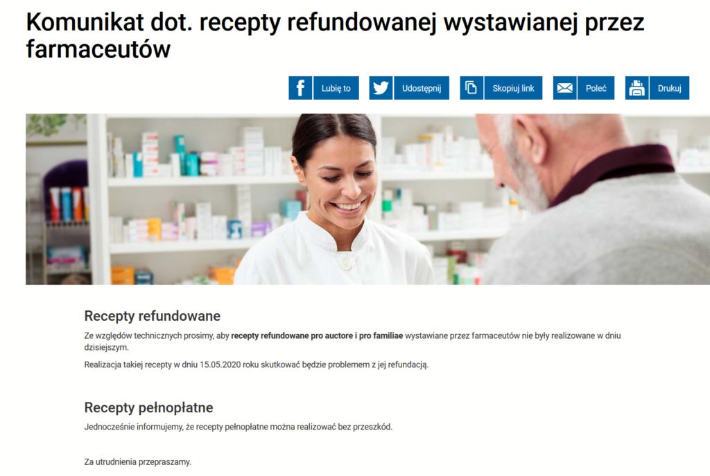 CSIOZ apeluje, by wstrzymać się z realizowaniem w aptekach recept refundowanych farmaceutów.