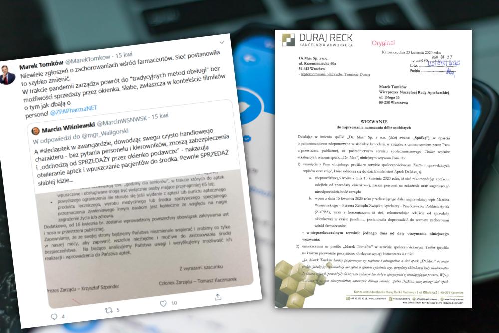 Sieć aptek żąda usunięcia wpisów z Twittera, publikacji przeprosin i 3 000 zł zadośćuczynienia (fot. screen Twitter)
