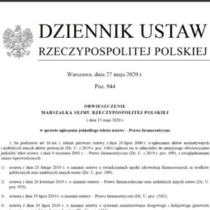 Opublikowano ujednolicony tekst ustawy – Prawo farmaceutyczne