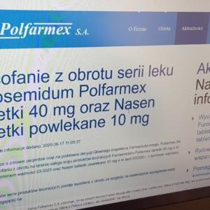 Komunikat firmy Polfarmex SA w sprawie wycofania Furosemidu i Nasen