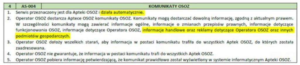Fragment regulaminu umożliwiający wyświetlanie reklam w KS-AOW