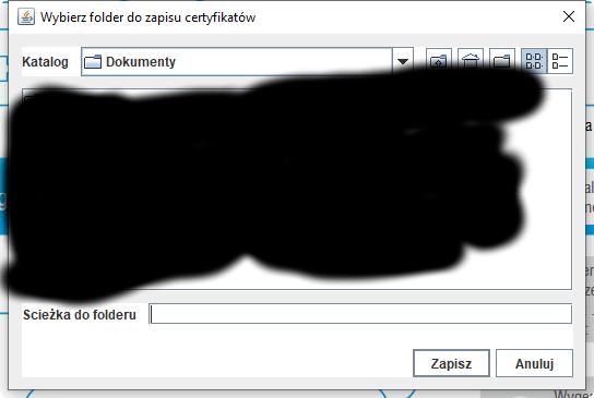 Wybierz folder do zapisu certyfikatów.