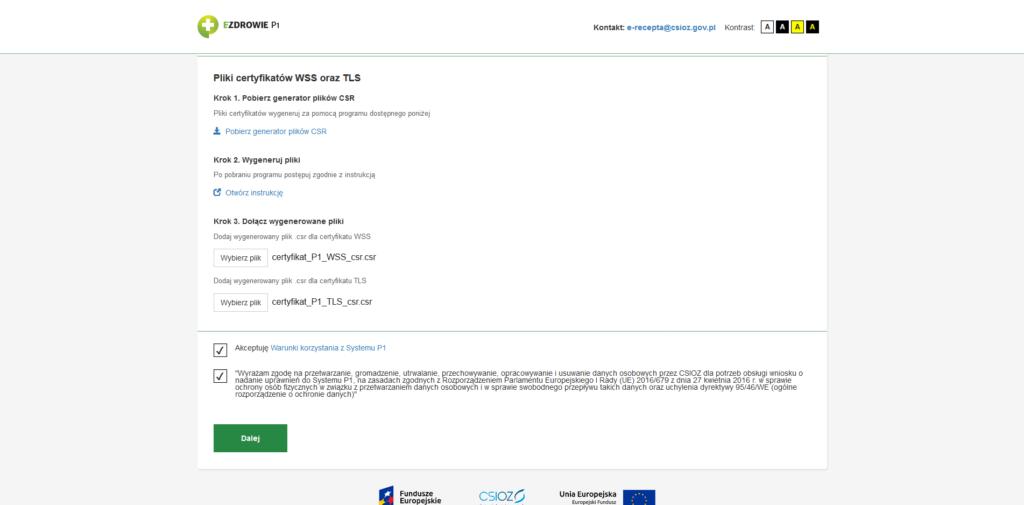 Załączanie plików certyfikatów WSS oraz TLS
