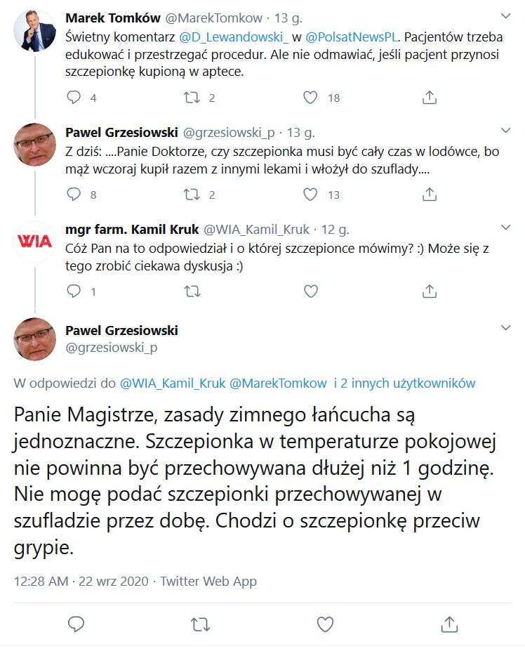 Fragment dyskusji na Twitterze